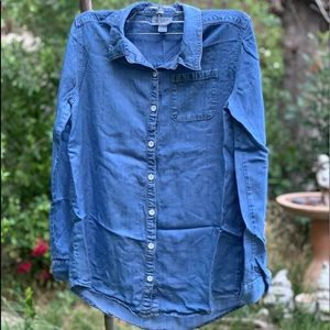 CAT & JACK Lt Blue Denim Shirt Blouse Sz XL 14/16